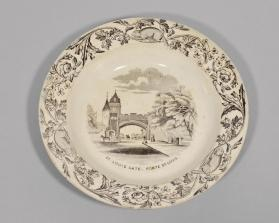 "Bowl in ""Quebec"" pattern with scene 'St. Louis Gate"""