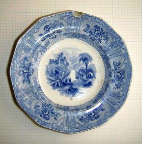 "Plate in ""Ontario Lake Scenery"" pattern"
