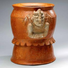 Pedestal jar depicting a combination of K'awiil and Chaahk