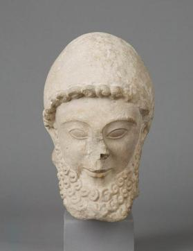 Large head of a bearded votive figure