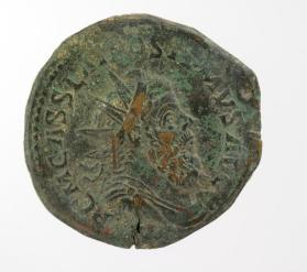 Double sestertius coin with radiate bust of Postumus