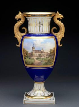 Vase with country house