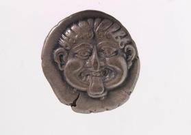 Hemidrachm coin with Gorgoneion face