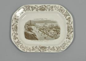 "Platter in ""Quebec"" pattern with scene ""View Looking North from the Citadel"""