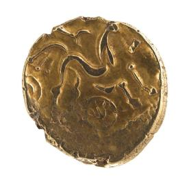 Stater coin of the Atrebates and Regni with disjointed chariot scene