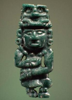 Pendant in the form of a human figure wearing a sun god headdress