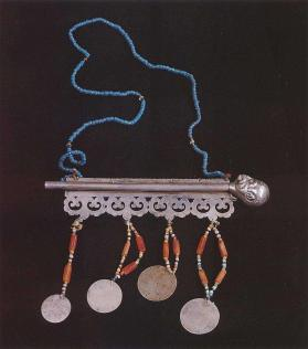 Bride's necklace with silver coins and whistle