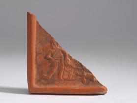 Corner of a rectangular dish depicting the Sacrifice of Isaac