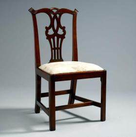 One of a pair of Chippendale style side chairs