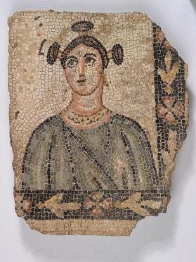 Mosaic fragment with bust of a woman