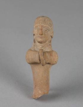 Fragment of a female votive figure holding a tambourine