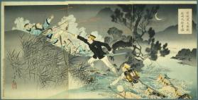 Valour of Captain Matsuzaki in the great fierce battle crossing the Ansong