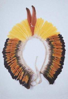 Parrot-tail headdress worn in all ceremonies by boys and men