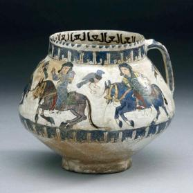 """Minai"" ware vessel with horse riders hunting with falcons"