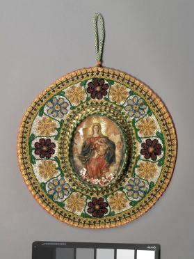 Religious wax picture in beaded frame : Virgin and Child