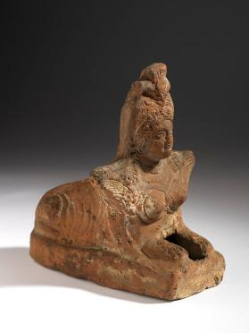 Votive figure in the form of a female sphinx with elaborate headdress