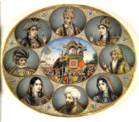 Portraits of Bahadur Shah II, Mughal Emperor (1775-1862, r. 1837-1858) with other Kings and Queens