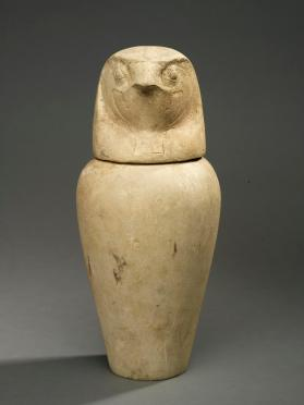 Canopic jar lid in form of  falcon head (Qebehsenuef)