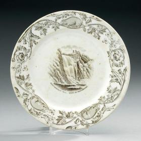 "Plate in ""Quebec"" pattern with scene ""Montmorency Falls"""