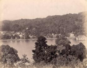 View of Kandy from across lake