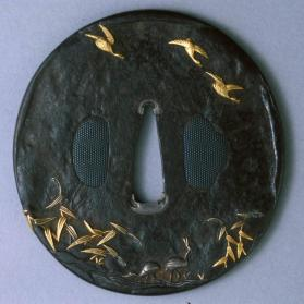 Tsuba (sword guard); reeds and geese design