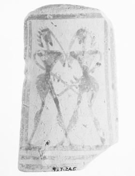 Fragment from the foot of an Attic stand showing two warriors fighting