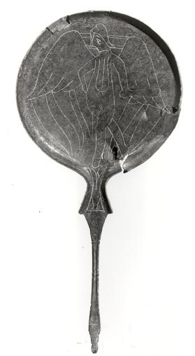 Mirror with ram's head handle, engraved with a winged Lasa