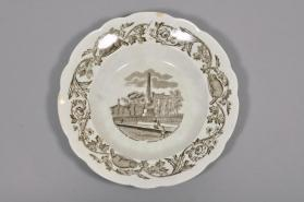 "Soup plate in ""Quebec"" pattern with scene ""Wolfe & Montcalm Monument"""