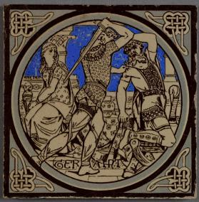 "Pictorial tile entitled ""Geraint,"" one of a series from ""Tennyson's Idylls of the King"""