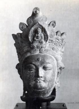 Figure of Buddha or Guanyin (Avalokiteshvara) fragment (head)
