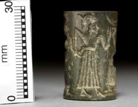 Cylinder seal with presentation scene to seated male with crescent