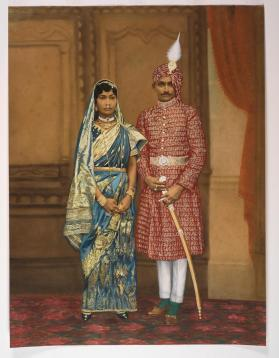Marriage Portrait of a Rajput Prince and Nepalese Princess