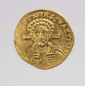 Solidus with bust of Christ, reverse side with bust of emperor Justinian II