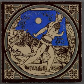 "Pictorial tile entitled ""Pelleas,"" one of a series from ""Tennyson's Idylls of the King"""