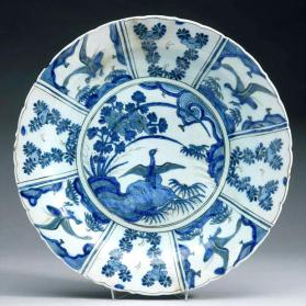 Dish with Chinese waterfowl scene