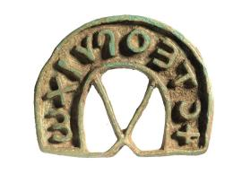 "Crescent-shaped stamp, reading ""Steopoichos"""