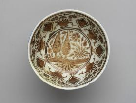 Lustre-ware bowl with pastoral scene (river and flowers)