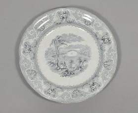"Soup plate in ""Lake"" pattern with scene ""Chaudiere Bridge"""