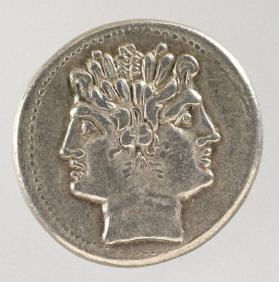 Didrachm with janiform head of Dioscuri