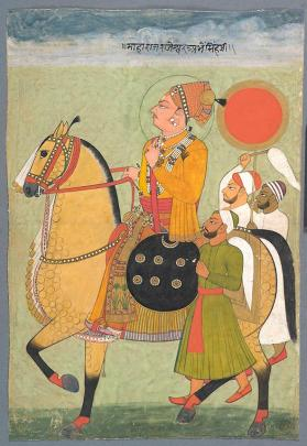Portriat of Maharaja Abhai Singh on horseback