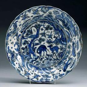 Dish copying Chinese landscape with deer