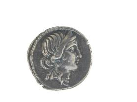 Denarius with head of Venus (obverse) and Aeneas carrying Anchises and the palladium statue (reverse)