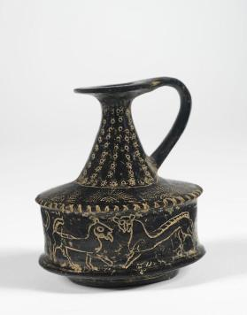 Etruscan bucchero jug decorated with an animal frieze