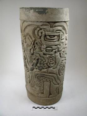 Cylinder with incised scene of two Cocijo figures with corn plants