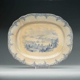 "Platter in ""British America"" pattern with scene ""Halifax from Dartmouth"""