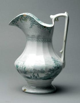 "Pitcher in ""British America"" pattern with scene ""Quebec from the opposite shore of the St. Laurence [sic]"""