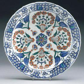 Dish with floral bouquets