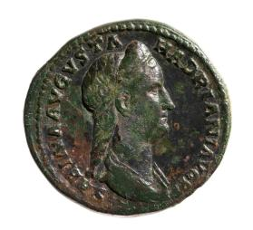 Sestertius coin with bust of Sabina, wife of Hadrian