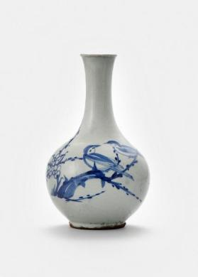 Bottle vase with bird, blossom, and bamboo design 백자청화매조죽문병