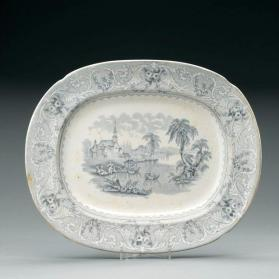 "Platter in ""Lake"" pattern with scene ""Village of Cedars"""